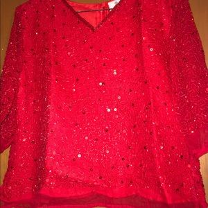 Red Beaded Petite Top